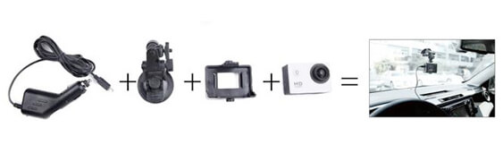 XS SJ4000 Action Camera Dash Camera Mounting