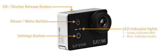 SJCAM SJ7 Star Action Camera LCD LED Screen Front